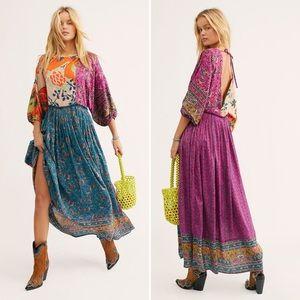 Free People Open Back Mixed Pattern Maxi Dress